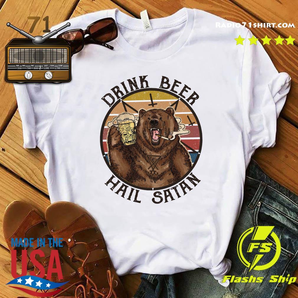 The Bear Drink Beer Hail Satan Shirt
