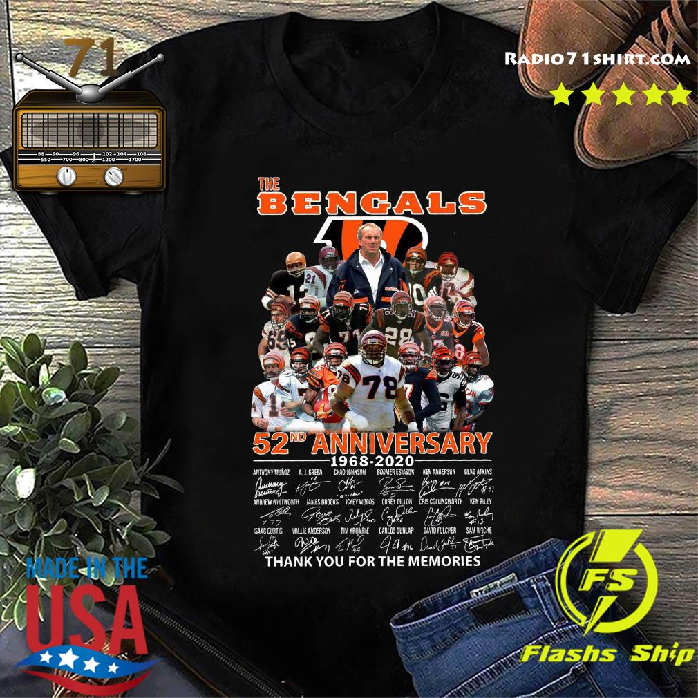 The Bengals 52nd Anniversary 1968 2020 Thank You For The Memories Signatures Shirt