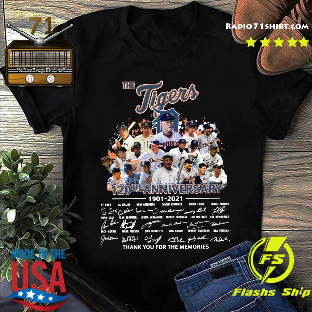 The Tigers 120th Anniversary 1901 2021 Thank You For The Memories Signatures Shirt