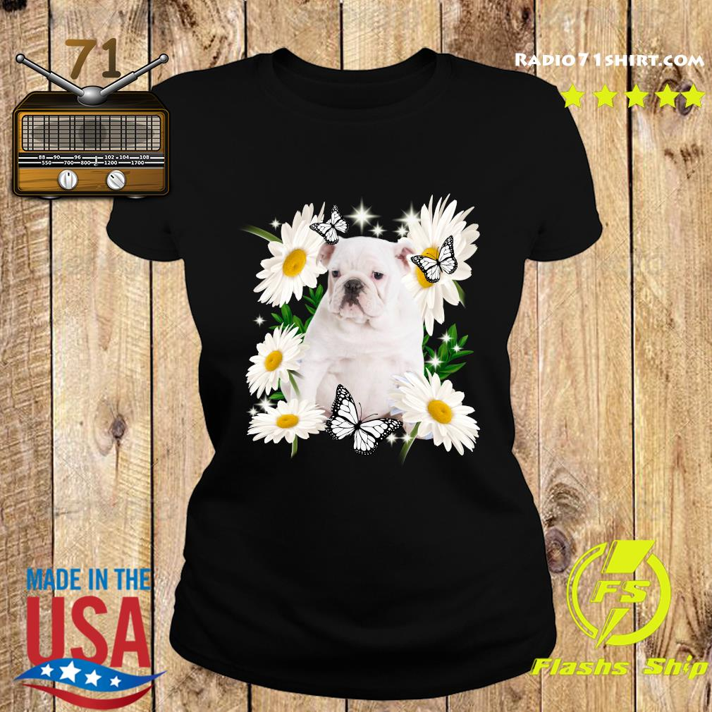White English Bulldog Daisy flower Classic T-Shirt Ladies tee