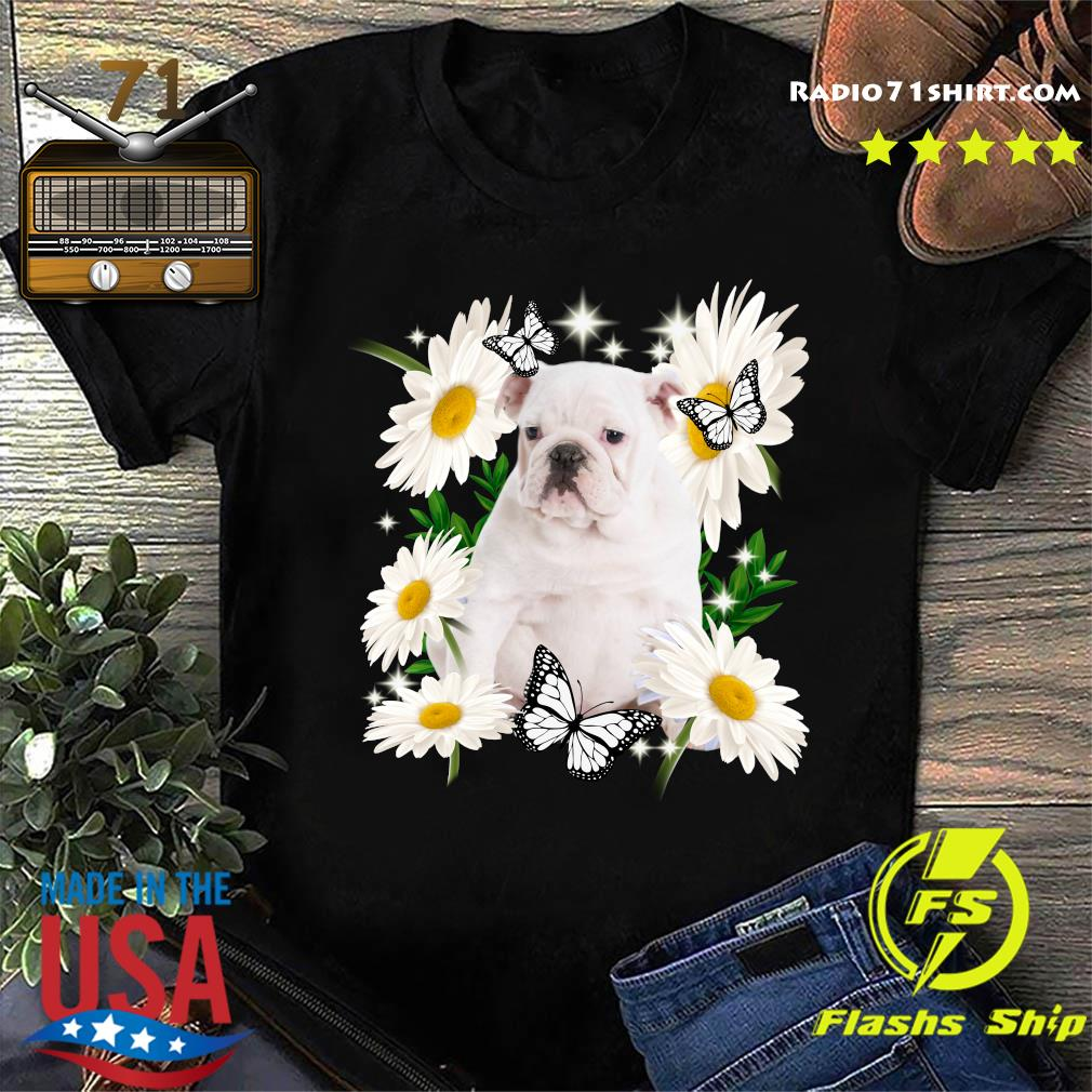 White English Bulldog Daisy flower Classic T-Shirt