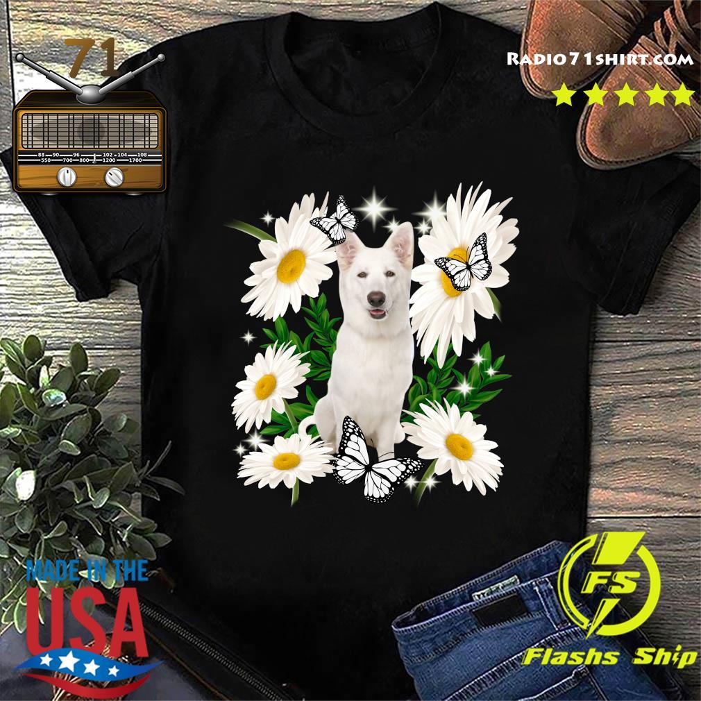 White German Shepherd Daisy flower Classic T-Shirt