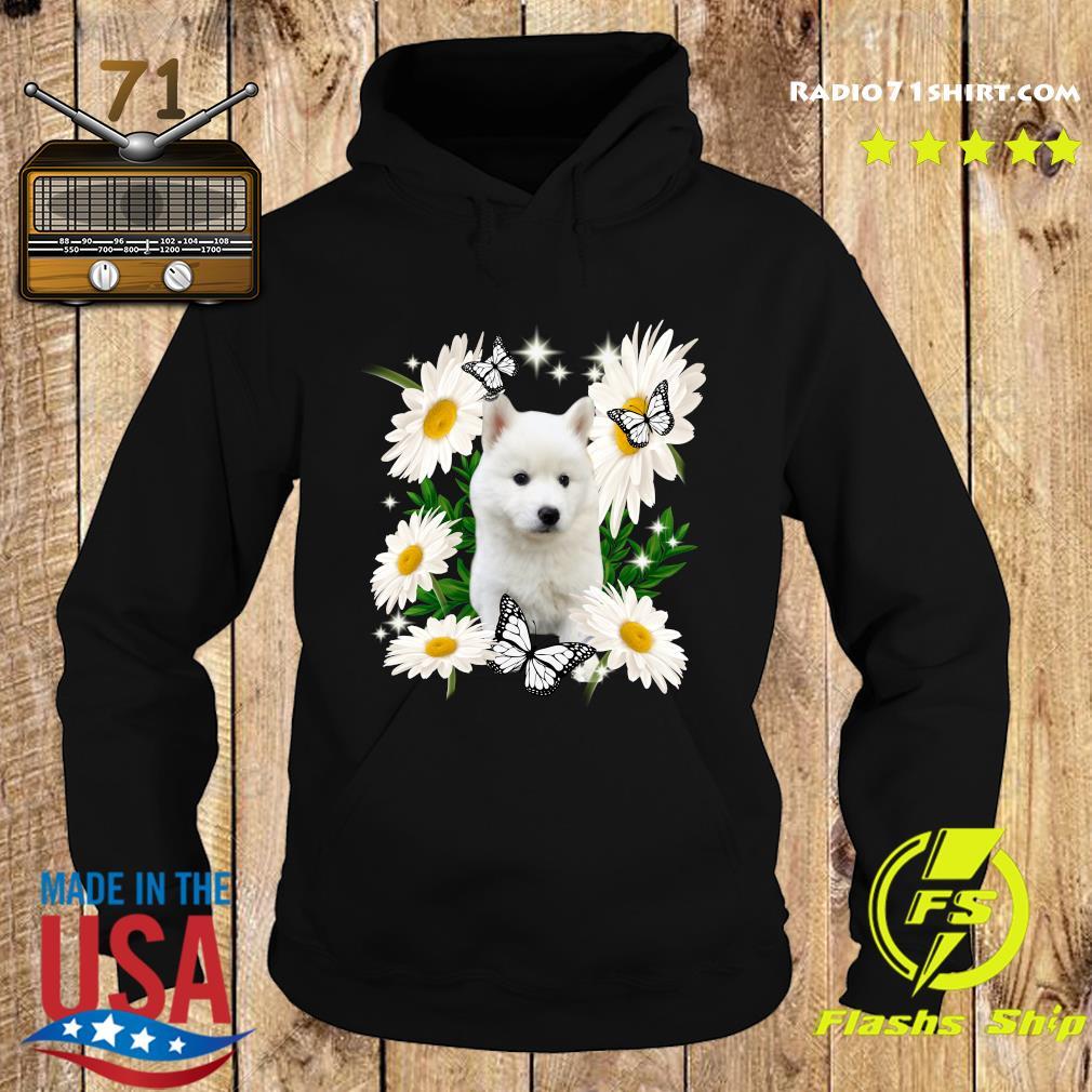 White Husky Daisy flower Classic T-Shirt Hoodie