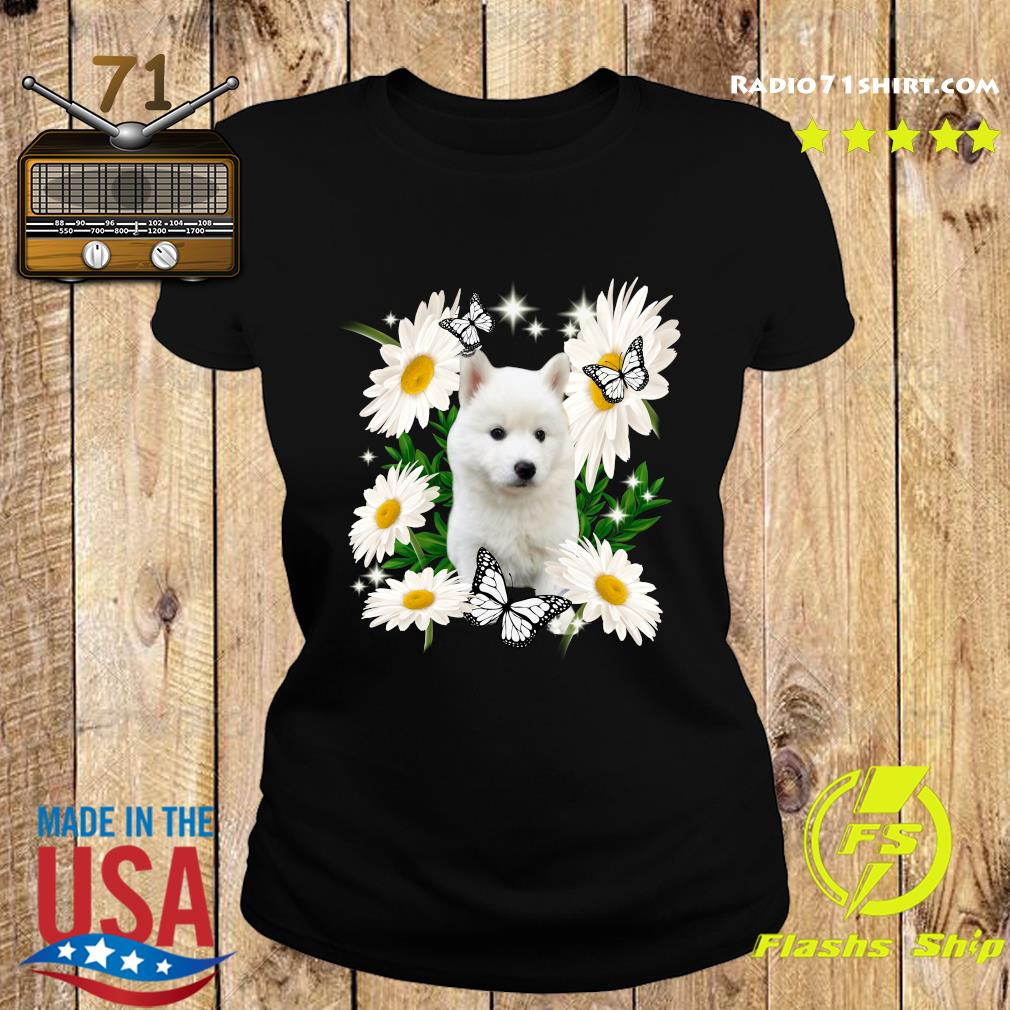 White Husky Daisy flower Classic T-Shirt Ladies tee