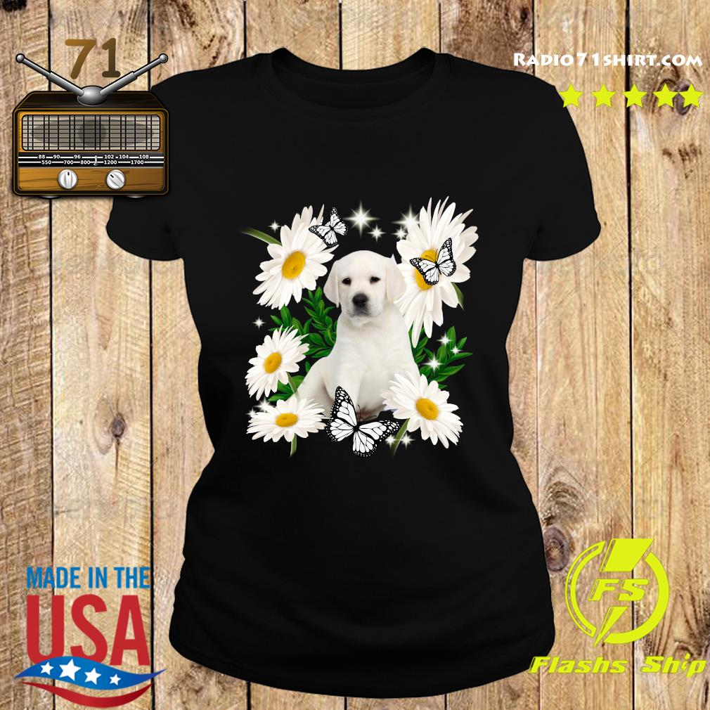 White Labrador Daisy flower Classic T-Shirt Ladies tee