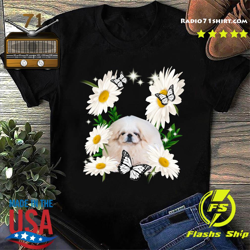White Pekingese Daisy Flower Classic Shirt