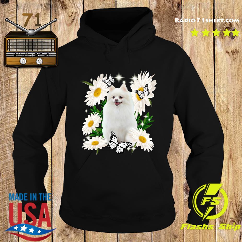 White Pomeranian Daisy flower Classic T-Shirt Hoodie