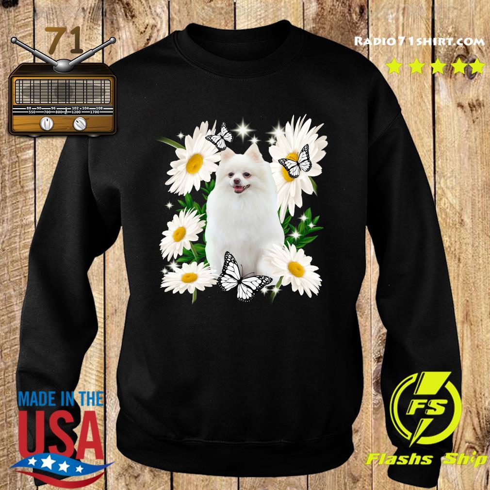 White Pomeranian Daisy flower Classic T-Shirt Sweater