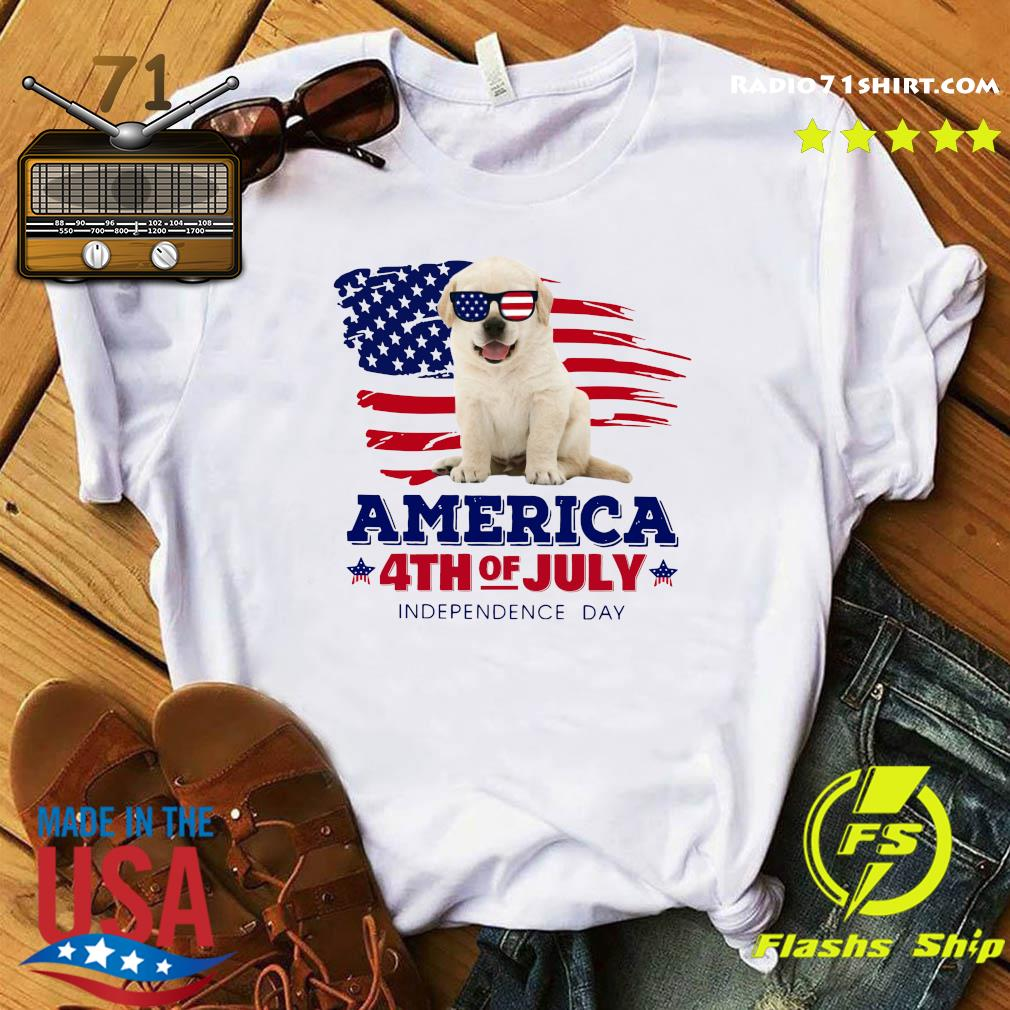 Yellow Goldador Puppy America 4th Of July Independence Day Shirt