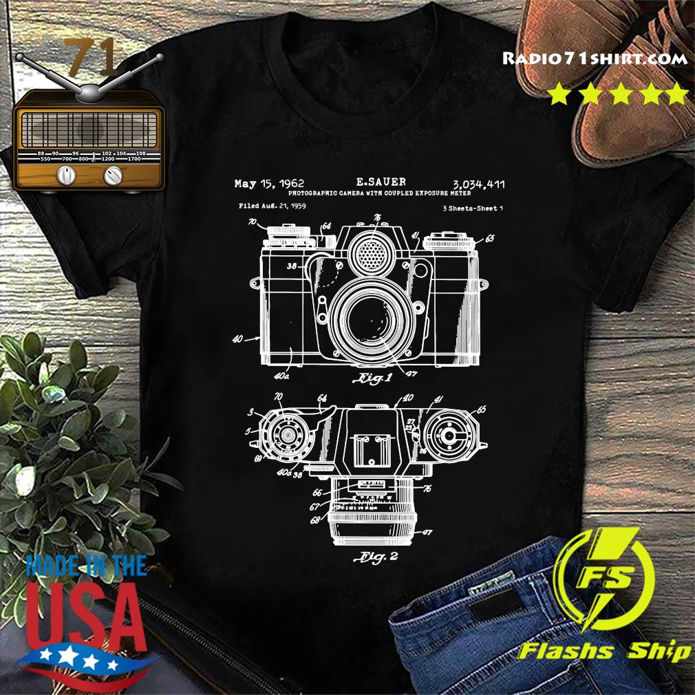 Photographic Camera With Coupled Exposure Meter 1962 Patent shirt