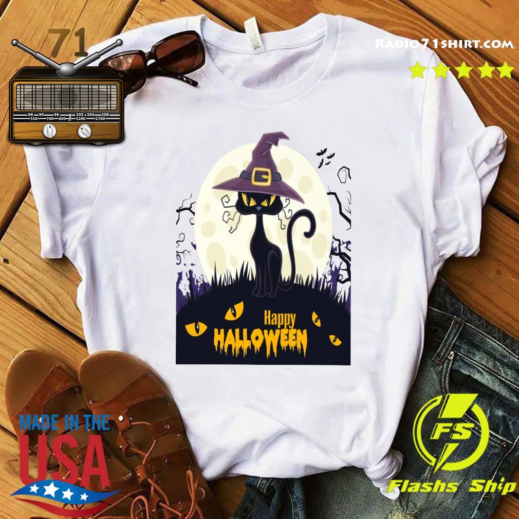 Black Cat Witch Happy Halloween Shirt