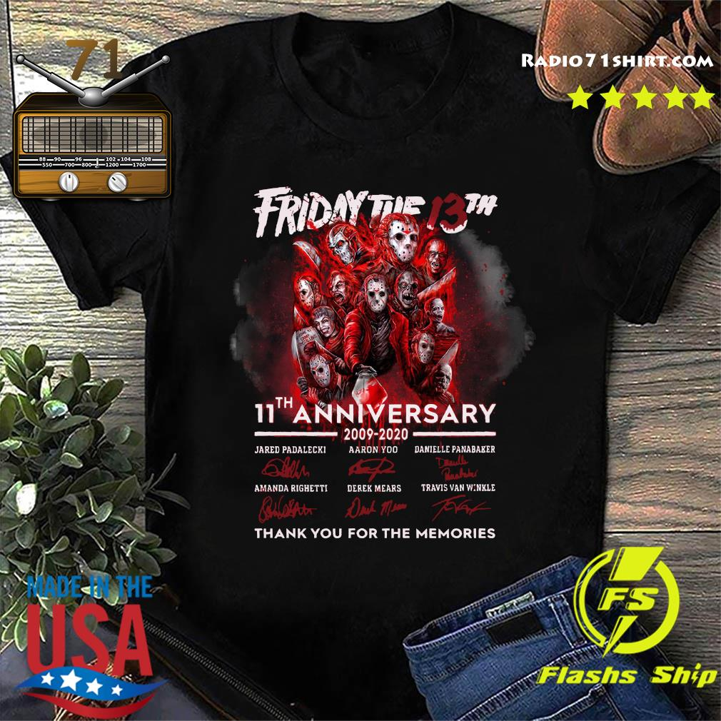 Halloween Movies Friday The 13th 11th Anniversary Thank You For The Memories Signatures Shirt