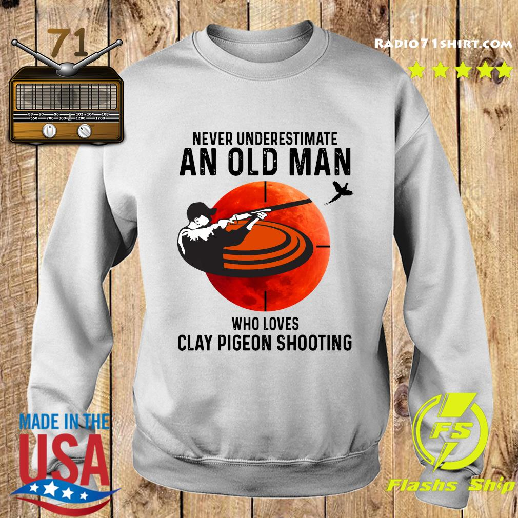 Never Underestimate An Old Man Who Loves Clay Pigeon Shooting Moon Shirt Sweater