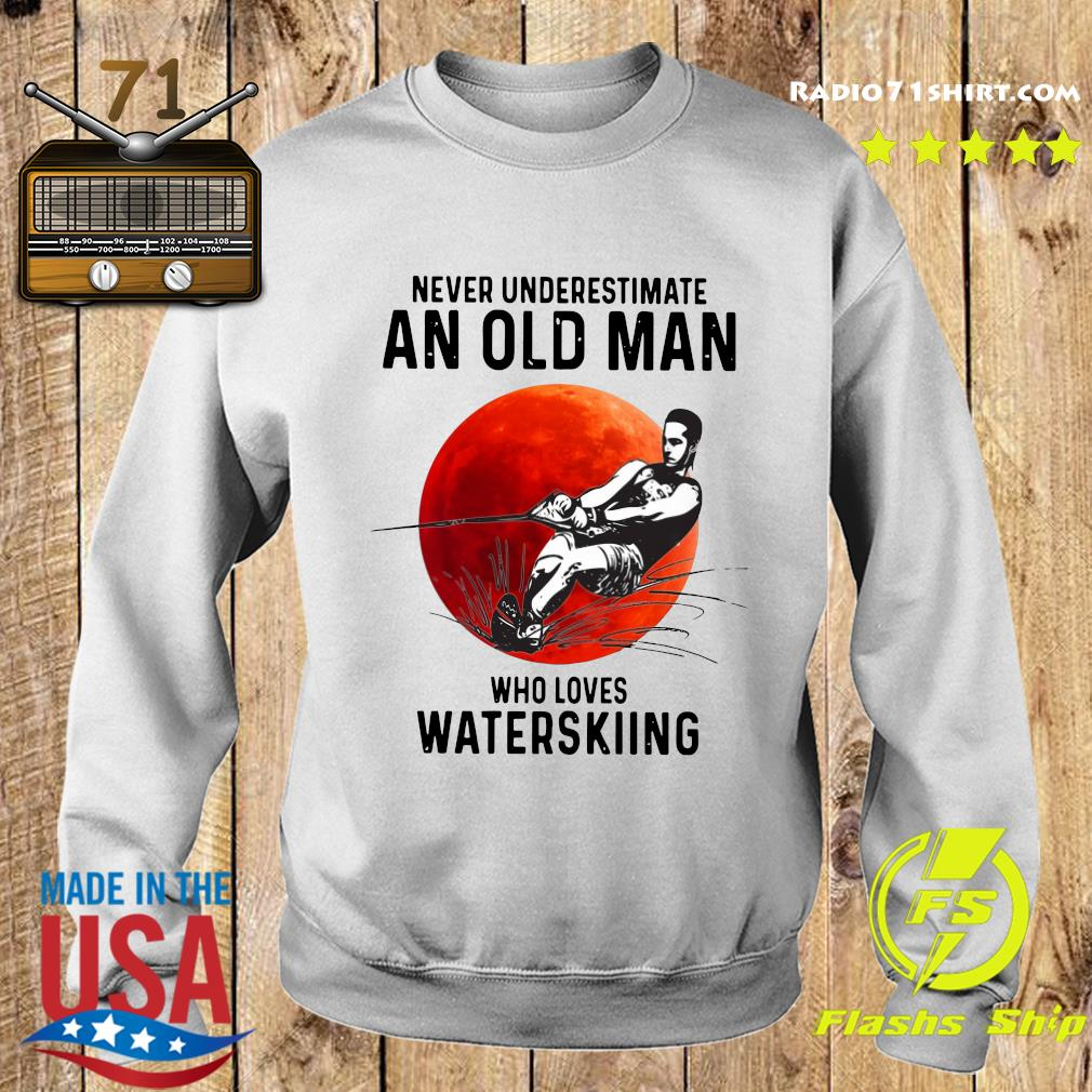 Official Never Underestimate An Old Man Who Loves Water Skiing Moon Shirt Sweater