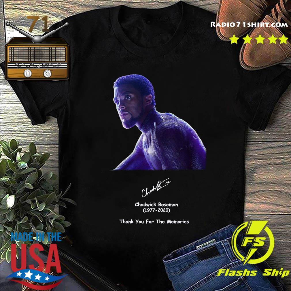 Rip Chadwick Boseman 1977 2020 Black Panther Signature Thank You For The Memories Shirt