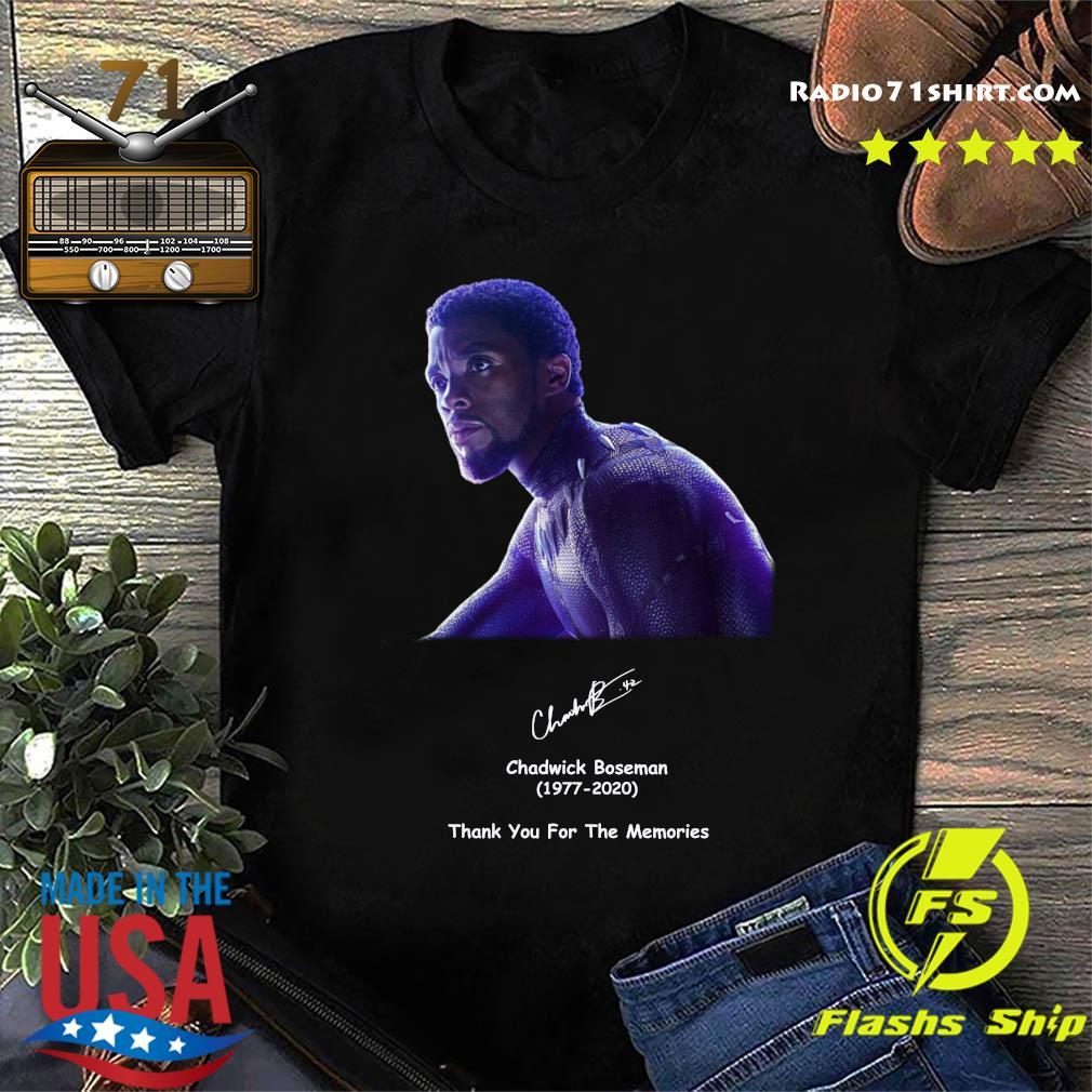 Rip Chadwick Boseman 1977 2020 Black Panther Signature Thank You For The Memories Shirt