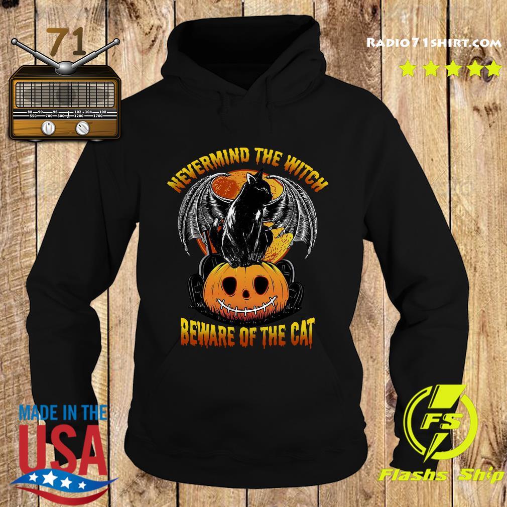 Black Cat Bat Nevermind The Witch Beware Of The Cat Pumpkin Halloween Shirt Hoodie