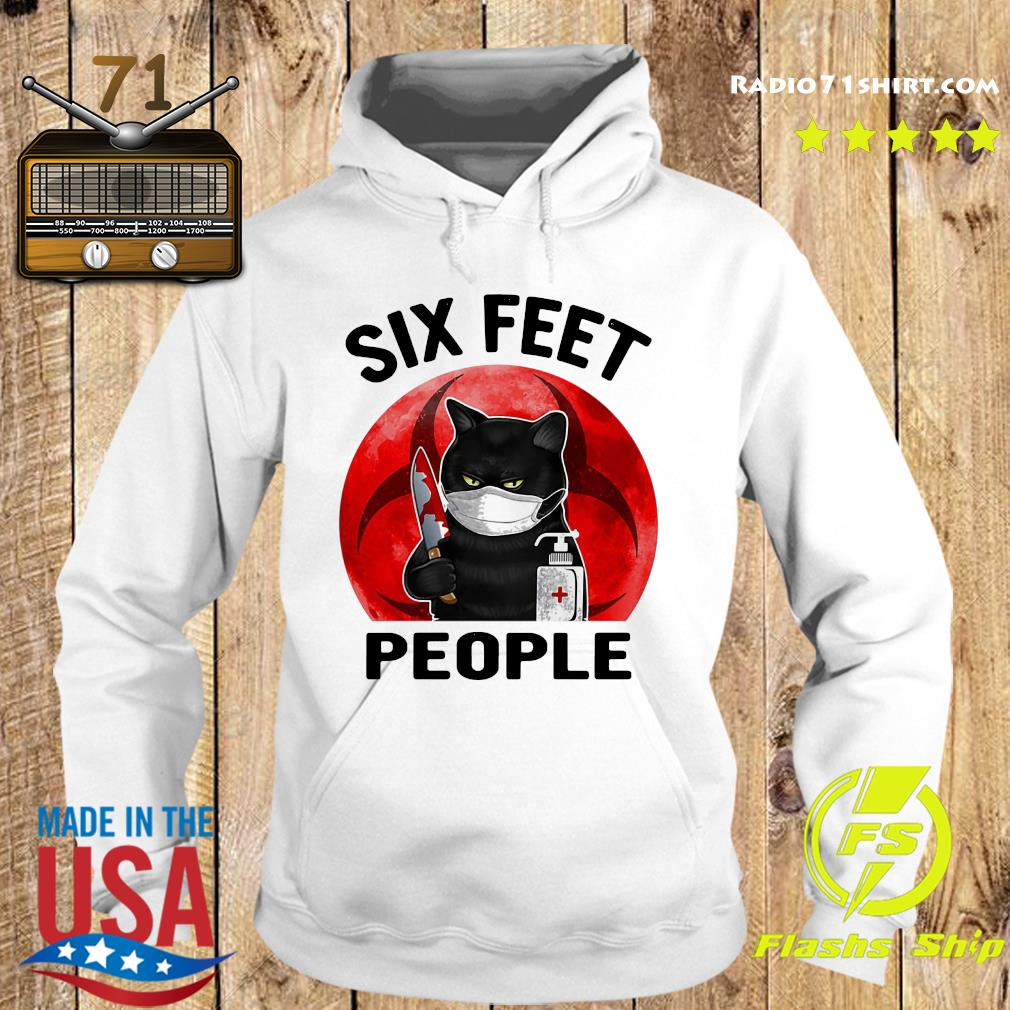 Black Cat Face Mask Knife Blood Six Feet People Moon Shirt Hoodie