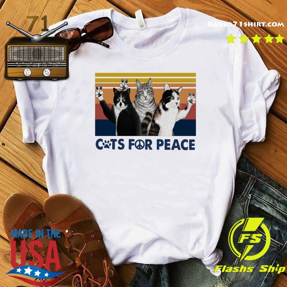 Cats For Peace Vintage Retro Shirt