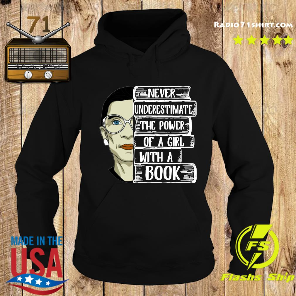 Official Ruth Bader Ginsburg RBG Never Underestimate The Power Of A Girl With A Book Shirt Hoodie
