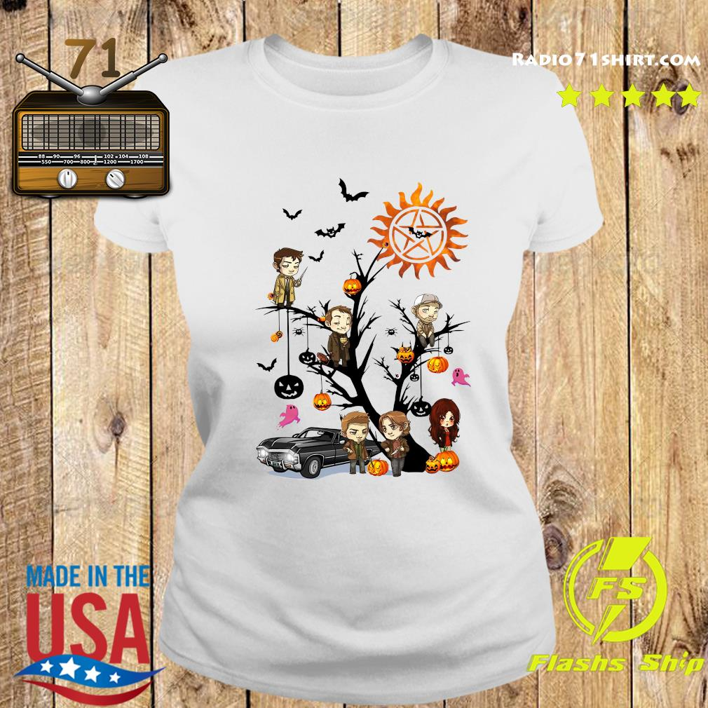 Supernatural Tree Halloween Pumpkin Shirt Ladies tee