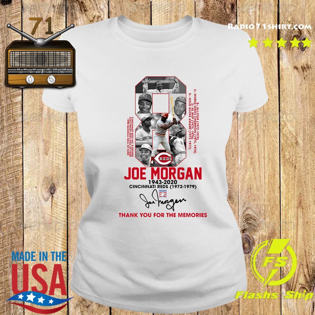 8 Joe Morgan Cincinnati Reds 1972 1979 Thank You For The Memories Signature Shirt Ladies tee