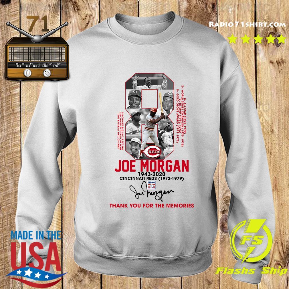8 Joe Morgan Cincinnati Reds 1972 1979 Thank You For The Memories Signature Shirt Sweater