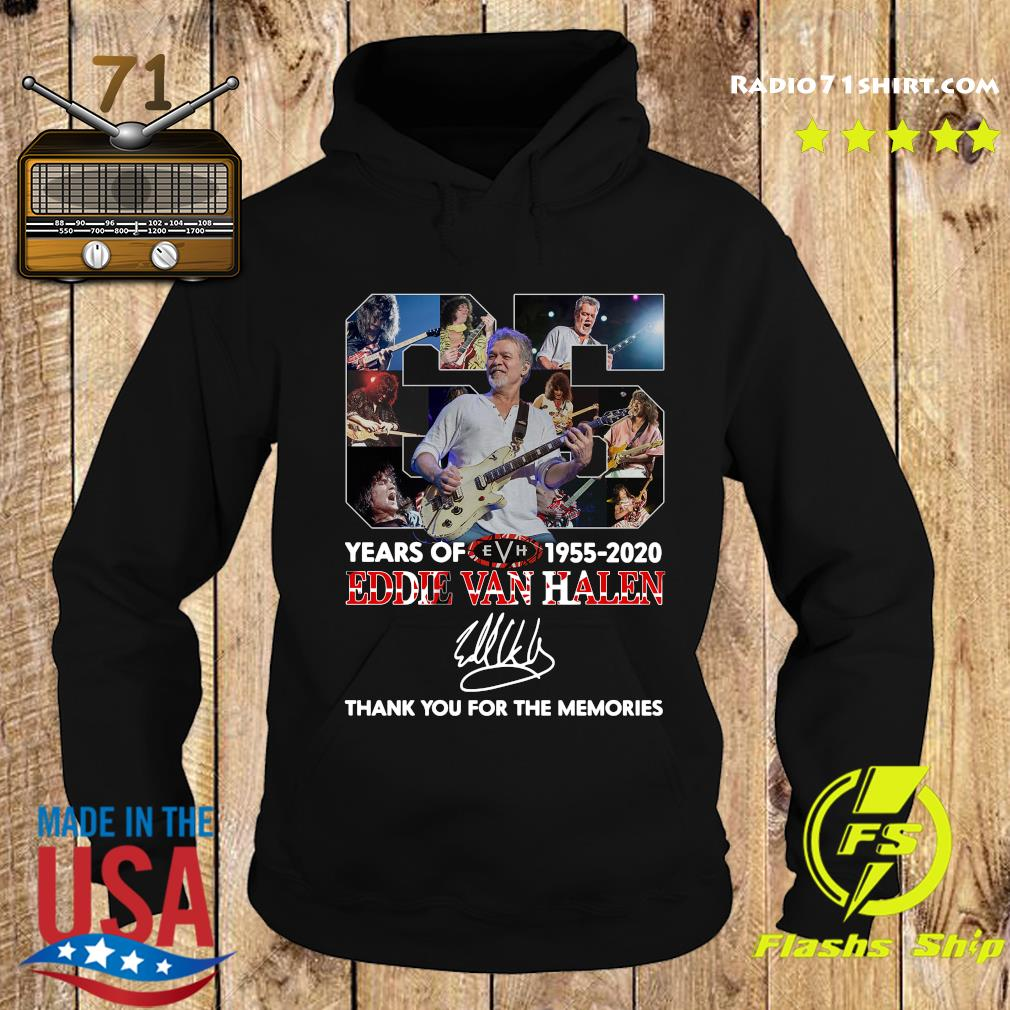 Official 65 Years Of Eddie Van Halen 1955 2020 Thank You For The Memories Signature T-Shirt Hoodie
