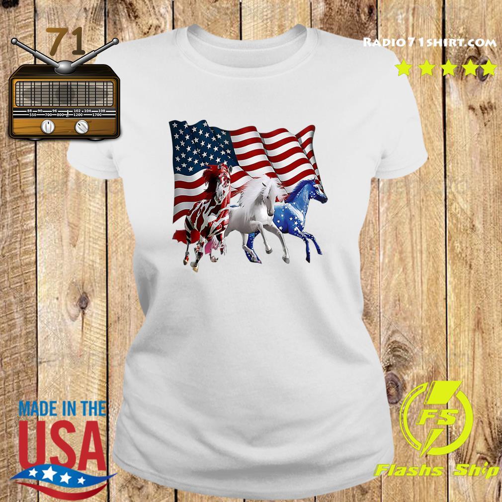 Official Tree Horse American Flag Shirt Ladies tee