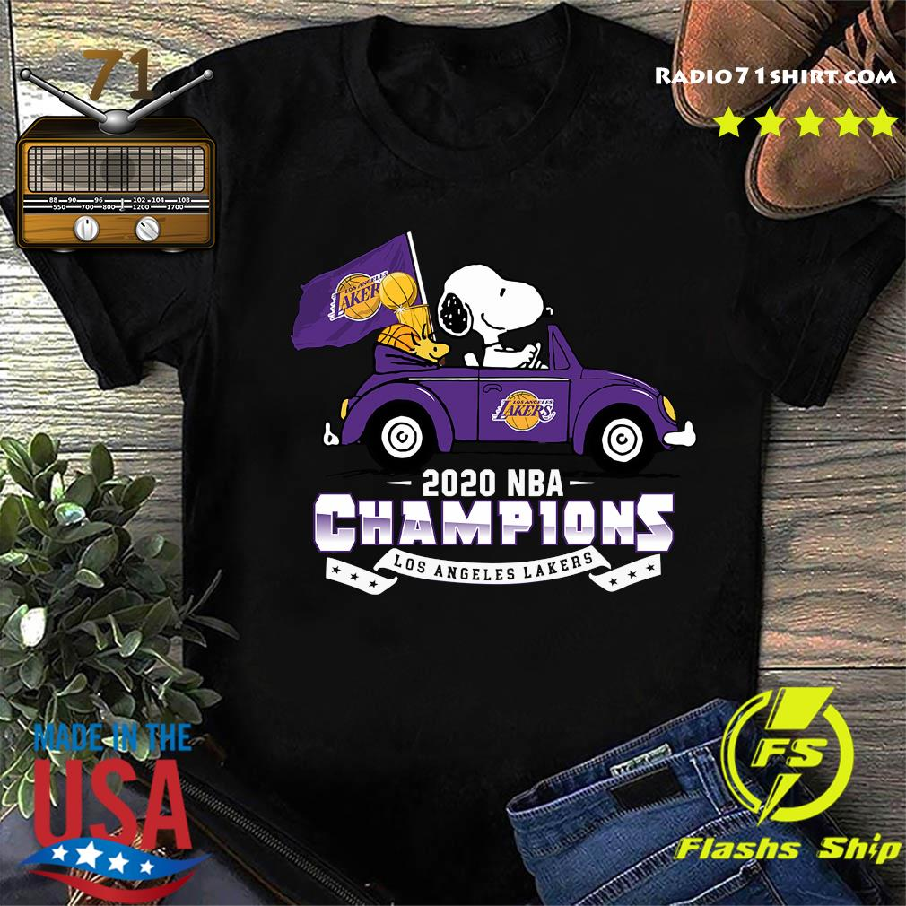 Snoopy And Woodstock Driving Car Los Angeles Lakers 2020 Nba Champions Shirt