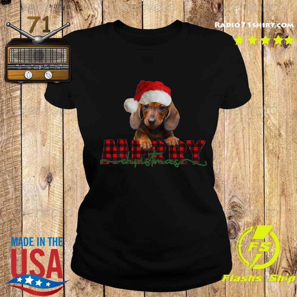 Dachshund Santa Merry Christmas Sweats Ladies tee