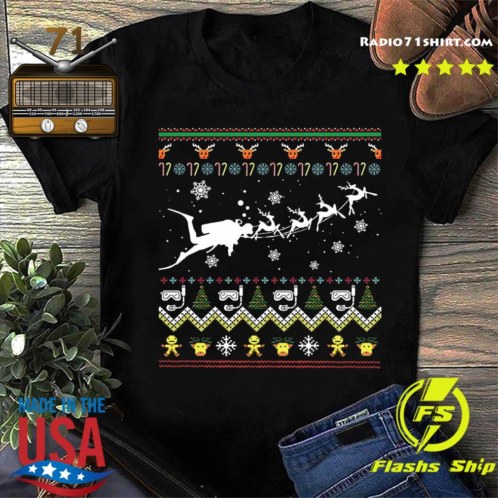 Dive With Reindeer Ugly Merry Christmas Sweats Shirt