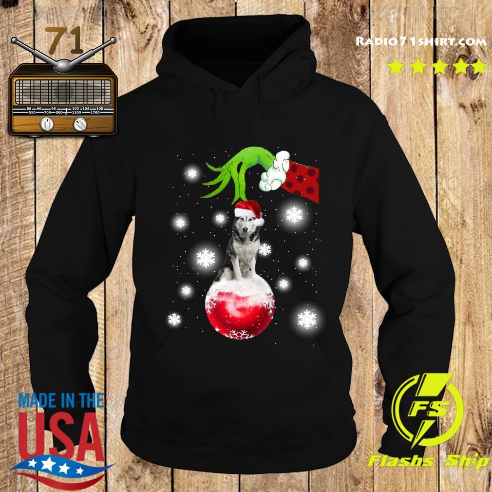 Hand Grinch Holding Husky Santa Merry Christmas Sweats Hoodie