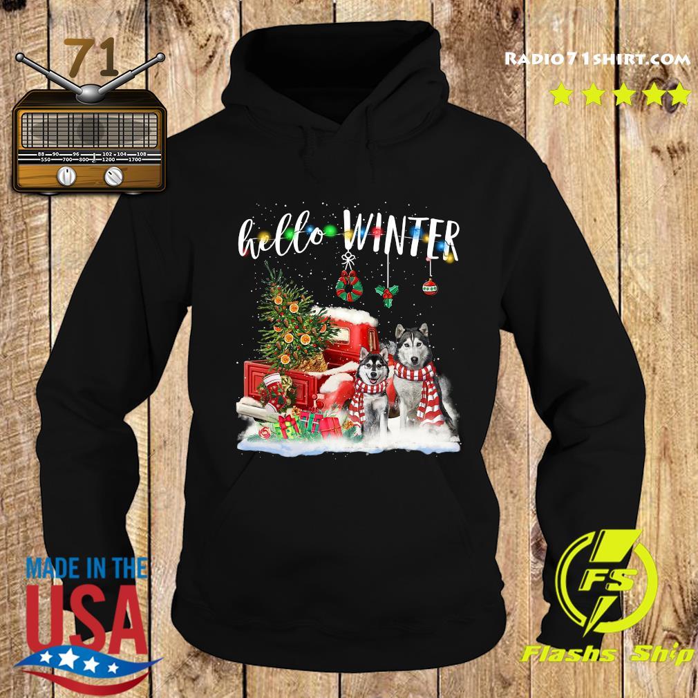 Husky Hello Winter Merry Christmas Tree Sweats Hoodie