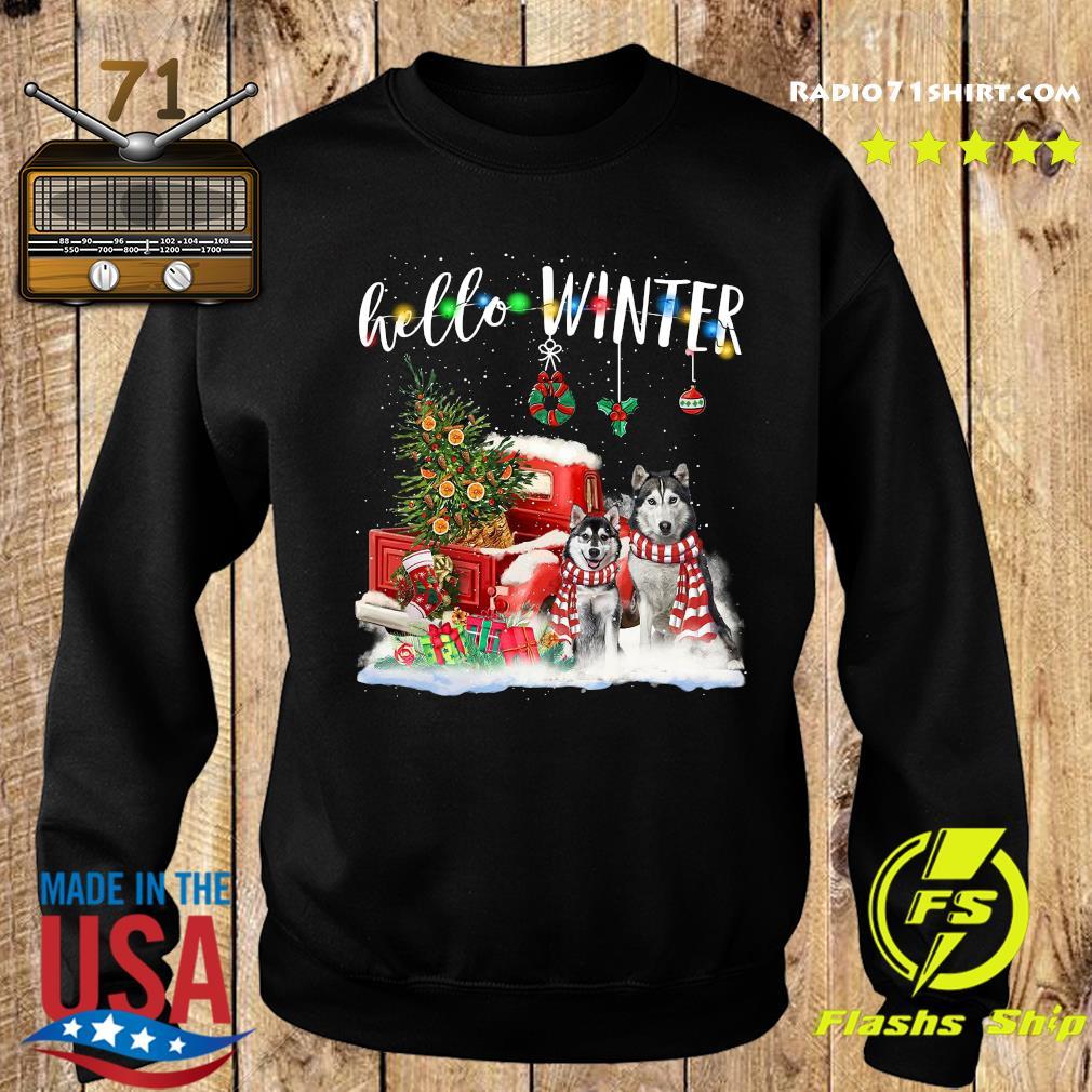 Husky Hello Winter Merry Christmas Tree Sweatshirt