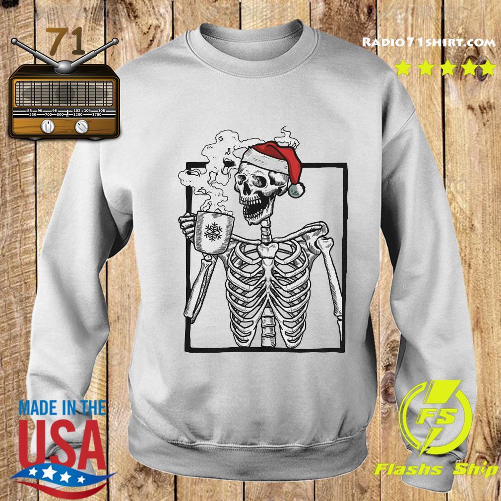 Santa Skeleton Drinking Coffee Merry Christmas Sweatshirt
