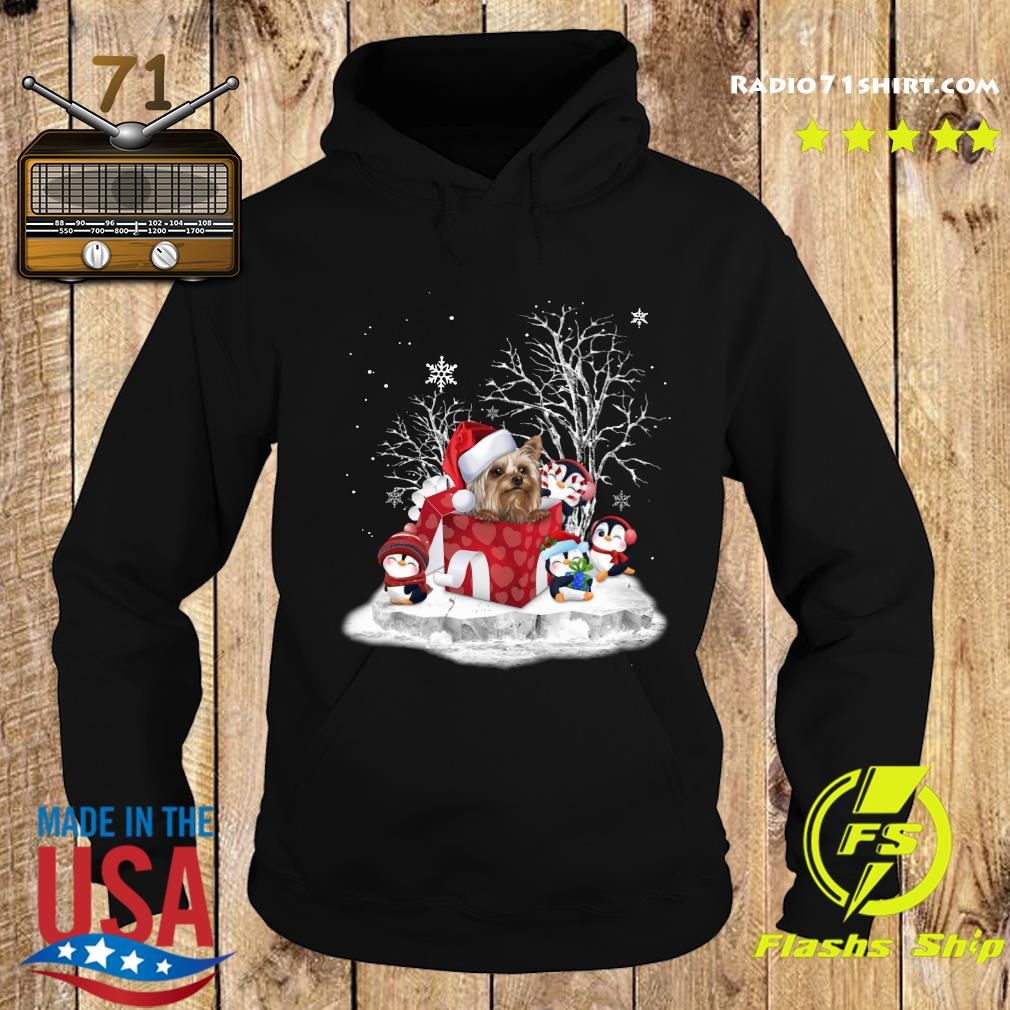 Yorkshire Terrier And Penguins Merry Christmas Sweats Hoodie